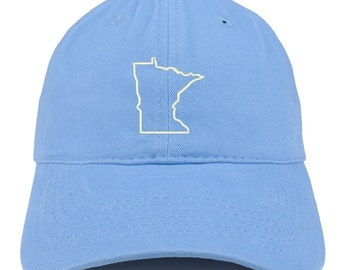 f8b0d2423e9 Minnesota State Outline Embroidered Soft Cotton Dad Hat (FREE SHIPPING)