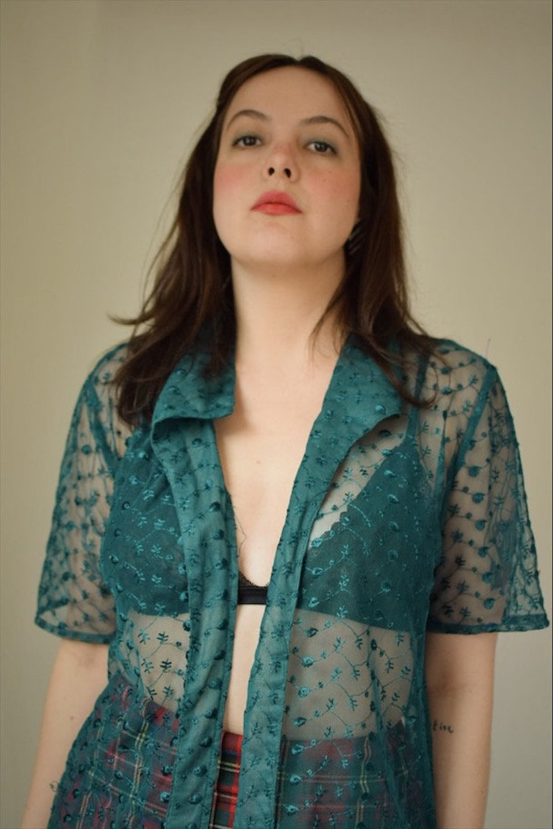 Vintage Sheer Floral Blouse Green See Through Top Tie Front Blouse