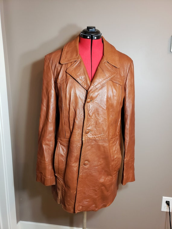 Vintage 1970s Brown Leather Trench Coat
