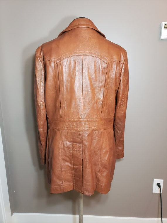 Vintage 1970s Brown Leather Trench Coat - image 3