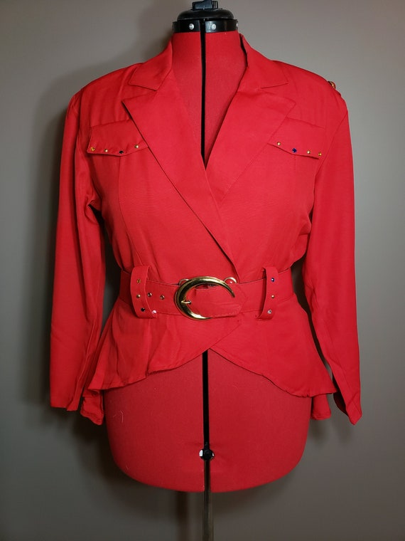 1980s Vintage Red 3 pc Skirt Power Suit
