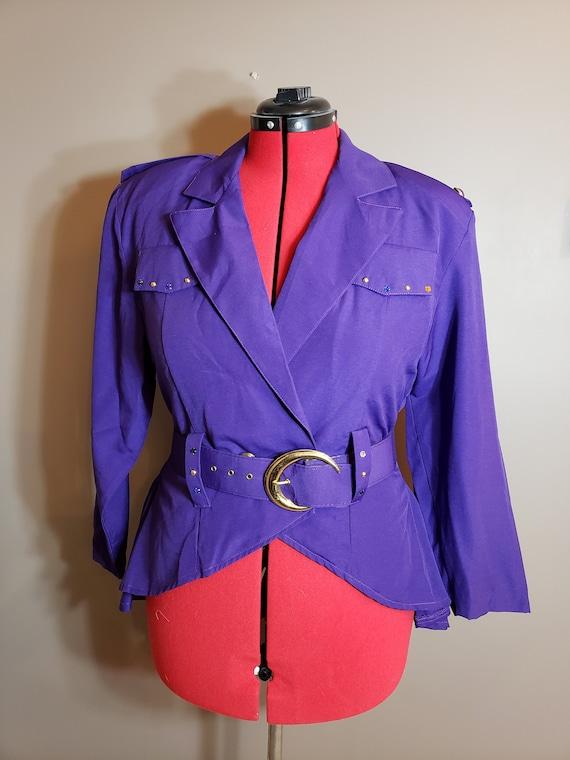 1980s Purple 3 pc Power Skirt Suit