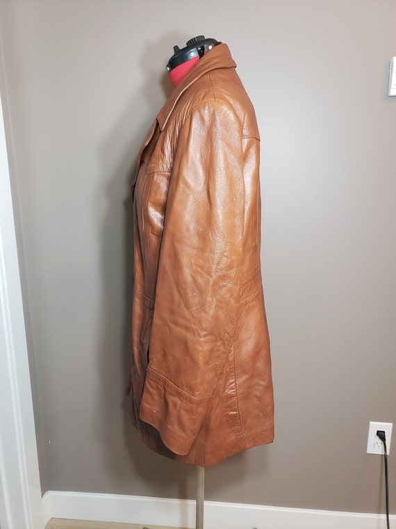 Vintage 1970s Brown Leather Trench Coat - image 2