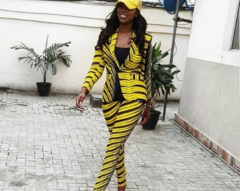 African Print Blazer and Pants, African Print two piece clothing,Ankara Jacket and Pants,African Clothing for women,Ankara jacket and pants