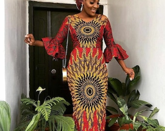 eb64bda15 African print dress with bell sleeves plus FREE head wrap/Ankara/African  Clothing/African Fashion/Ankara Clothing/Cut out/kente