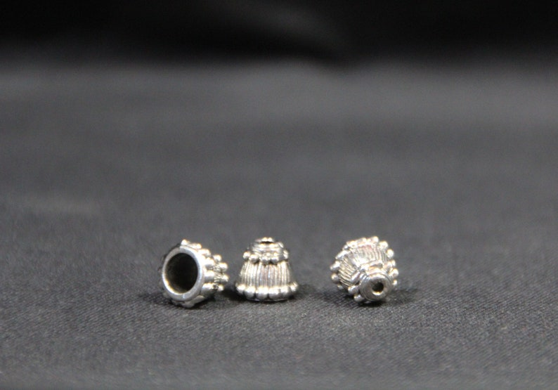 handmade DIY jewelry making tibetan silver cord end bead caps 8x10mm craft destash