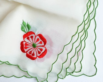 """Vintage Red and Green Cocktail Napkins, Set of 6 Organza Christmas Napkins, Scallop Edge Embroidered Cloth Napkins 11"""" Square Holiday Decor"""