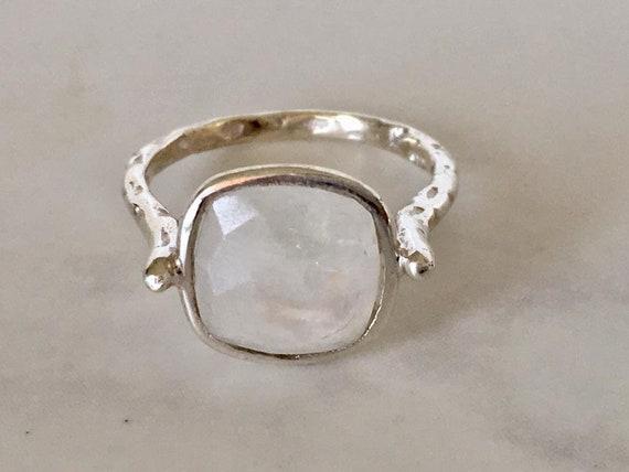 Rainbow Color rectangle bi-couleur Tourmaline gemstone silver ring sz 7 8 9
