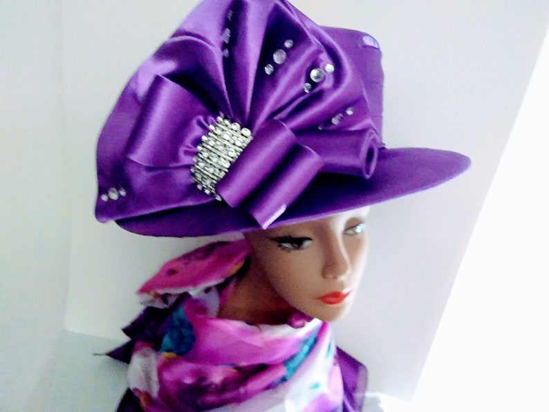 35a802541 Gorgeous Purple Church Hat with Embellishments