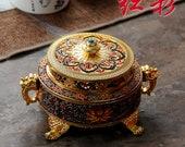 Vintage burner incense holder burner statue antique brass bronze sandalwood Incense Holders Enamel incense stove Buddhist incense stove