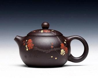 180cc Chinese Handmade Purple clay pot tea set Yixing Zisha clay teapot handcrafted purple Herbal tea 14 holes-降坡紫泥 made by Chun Hong--西施