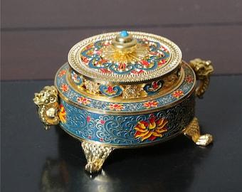 Burner incense burner statue antique brass bronze sandalwood Incense Holders  Enamel incense stove Buddhist incense stove