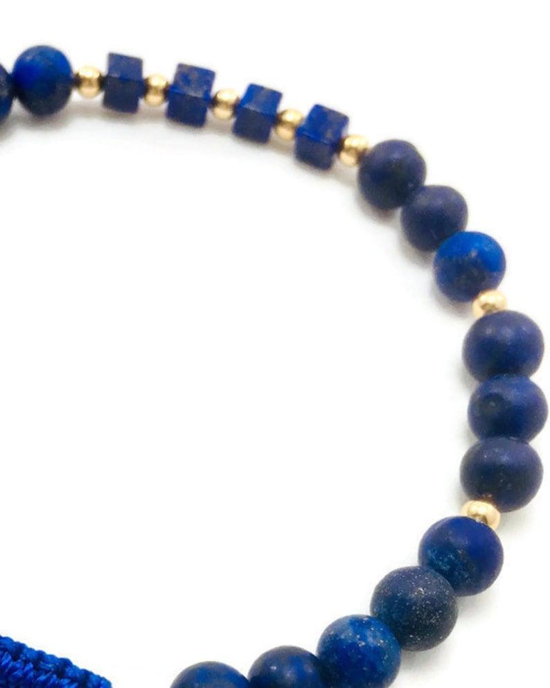 Blue Lapis Lazuli and 14kt Gold Bracelet with Macrame Closure Free Custom Options Available Handmade