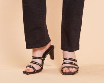 bf3ae0f355f Vintage Strappy Black Square Toe Heel