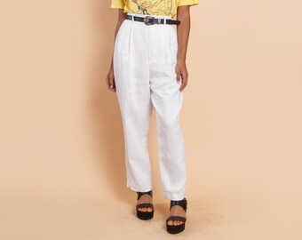 f17feb02b964 Vintage Linen White Paperbag Trousers