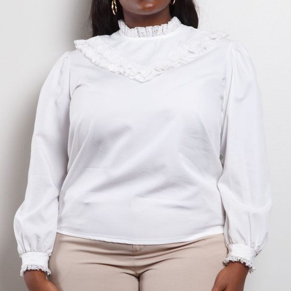 70s/80s Victorian Style Blouse - image 4