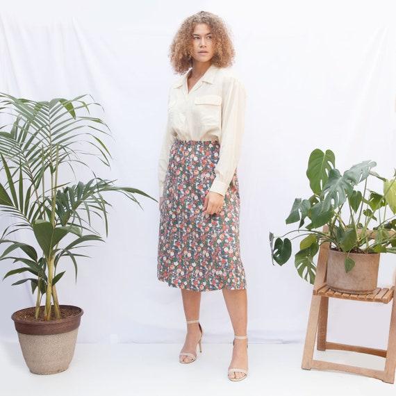 80s Floral Midi Skirt