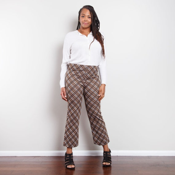 70s Plaid Cropped Bell Bottoms