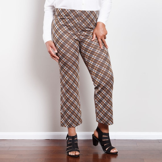 70s Plaid Cropped Bell Bottoms - image 2