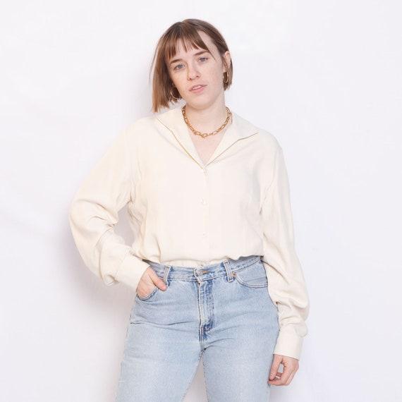 100% Silk White Blouse