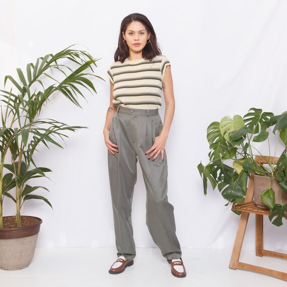 Vintage High Waisted Green Trousers