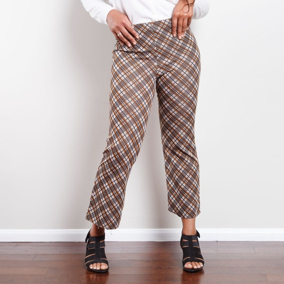 70s Plaid Cropped Bell Bottoms - image 3