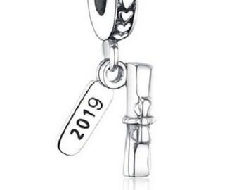 8d6c3b9f7 2019 Graduate Student Graduation Diploma Authentic 925 Sterling silver, fit  Authentic Pandora Charm Bracelet, Free Shipping.