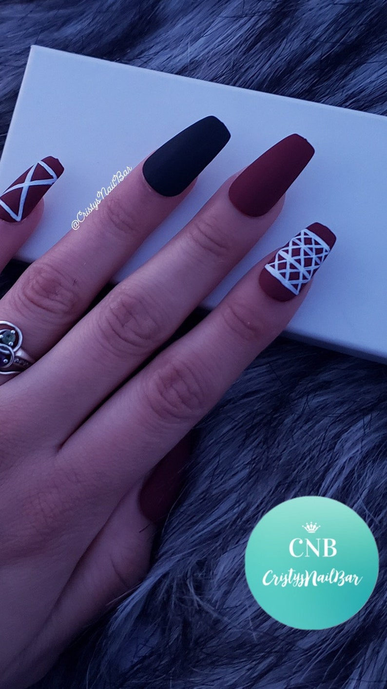 Matte Burgundy Nails with hand painted designs Fake Nails | Etsy