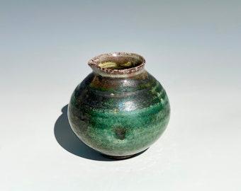 Handmade Soda Fired Ceramic Pitcher - emerald green