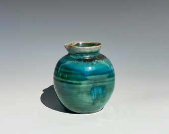 Handmade Soda Fired Ceramic Pitcher - watercolor turquoise