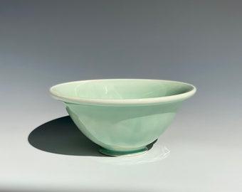 Handmade Celadon Green Rolled Rim Bowl