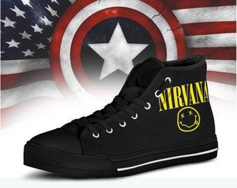 5e9db187bc7 Nirvana High Top, Custom schoenen, Custom High Top, cadeau voor hem, cadeau  voor haar, High Top, schoenen