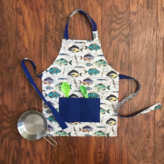 cooking car cotton fabric HANDMADE truck construction print pretend play APRON child building profession chef reversible crafts