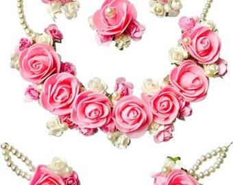 1fc0fd4a8 Pink flower jewellery Gota patti Set Necklace Maang Tikka Earrings Bracelet  Jewellery Set Flower Set