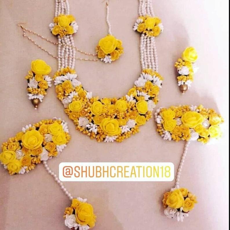 Yellow and White Floral Haldi Mehandi Wedding Bridal Necklace Earrings and Bracelet Maangtika Set of 6 PC