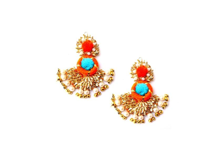 Jewellery Set Bangles Earring Ring Sky Blue Orange Golden Gotta Patti Jewellery Maangtikka