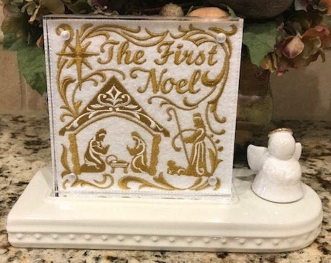The First Noel Embroidered Panel for Nora Fleming butter dish andor magnetic frame