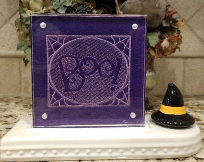 Boo Embroidered Panel for Nora Fleming butter dish andor magnetic frame