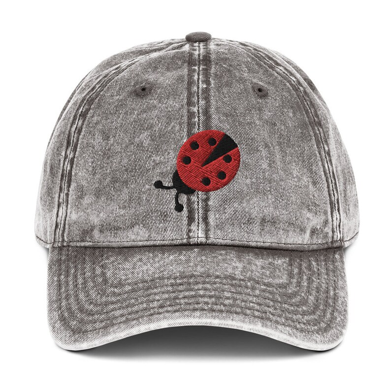 Ladybug Embroidery Vintage 90/'s Cotton Twill Cap by YassyDesigns