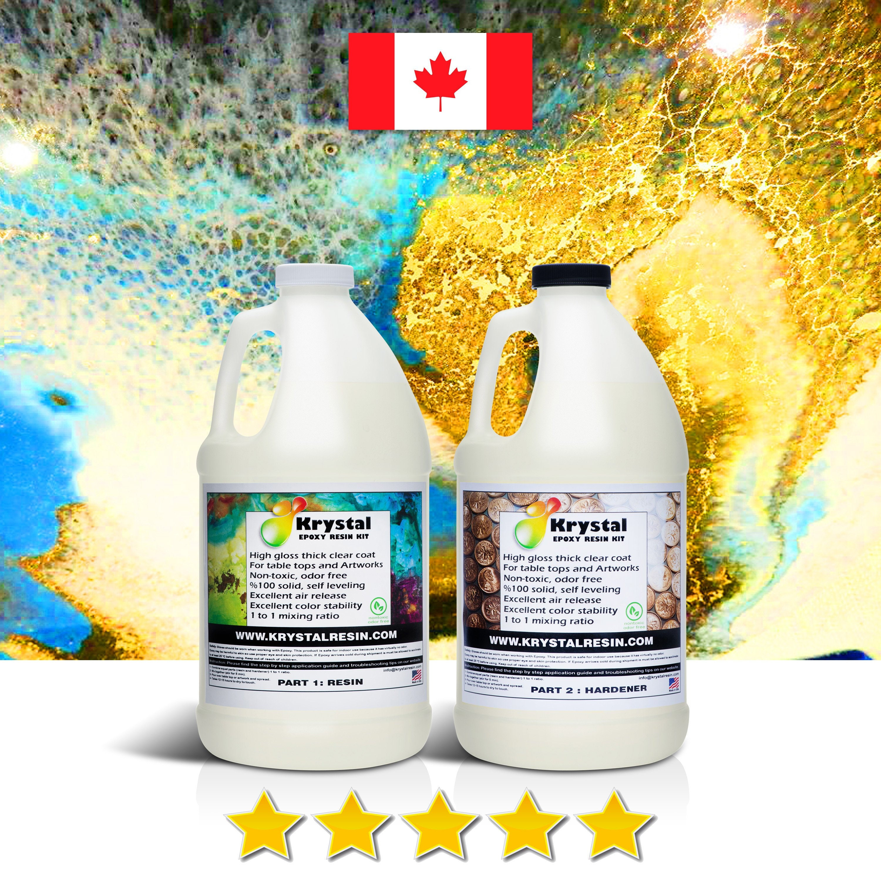 1 Gallon Kit (3 8 Litre ) Epoxy Resin For TableTops and Artworks, Clear,  non-toxic , Free Express Delivery From Toronto