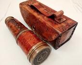 antique brass telescope mareine nautical leather pirate SPYGLASS VINTAGE SCOPE
