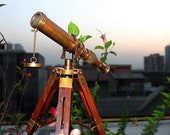 Vintage Antique Decorative Table Classy Brass Telescope with Adjustable Tripod Stand A