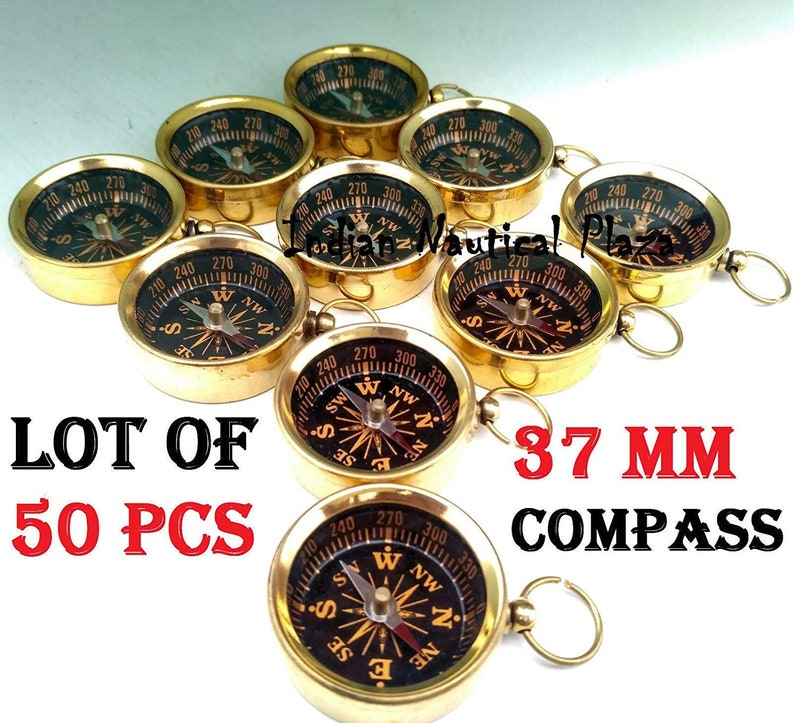 BRASS NAUTICAL STYLE COPPER DIAL POCKET KEY CHAIN COMPASS LOT OF 2 PCS