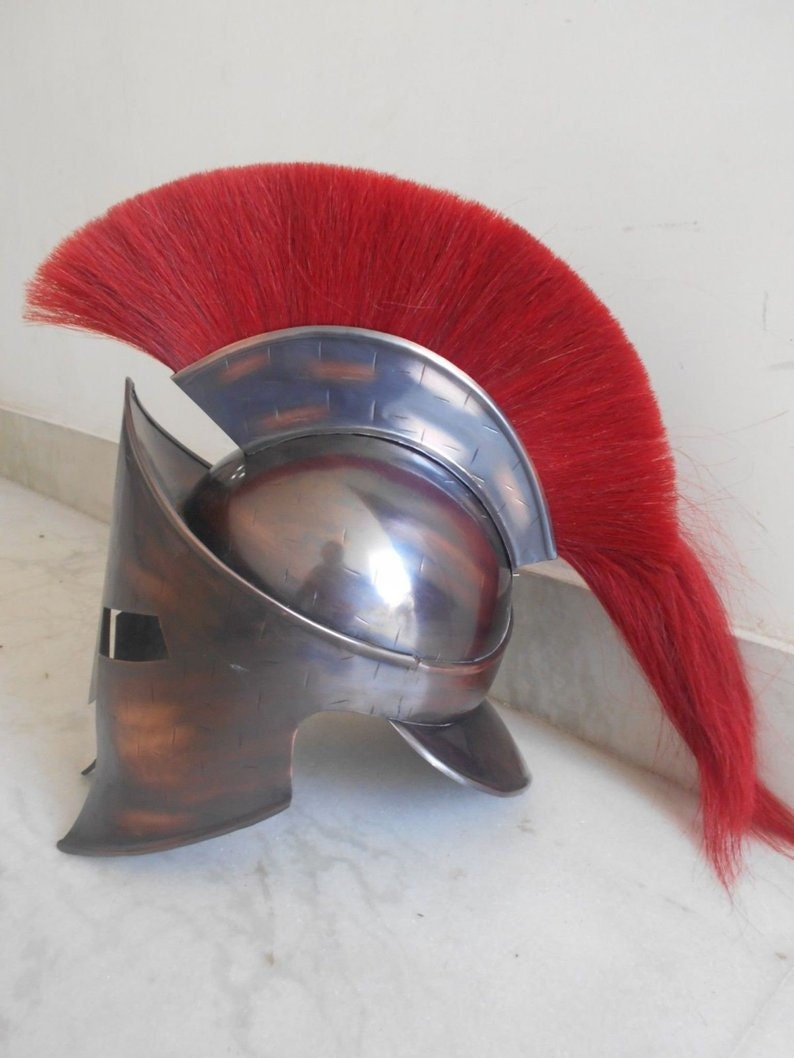 Spartan helmet with red plume Armour Helmet Spartan With Red Plume Item