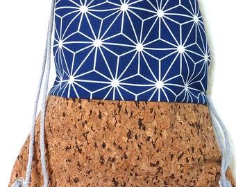 NEW Cork gym bag, cork backpack, Scandinavian star in blue