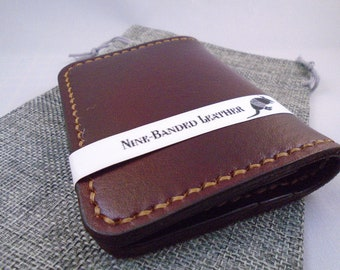 946c848562629d Handmade leather credit card holder wallet brown. NineBandedLeather. $30.00 FREE  shipping