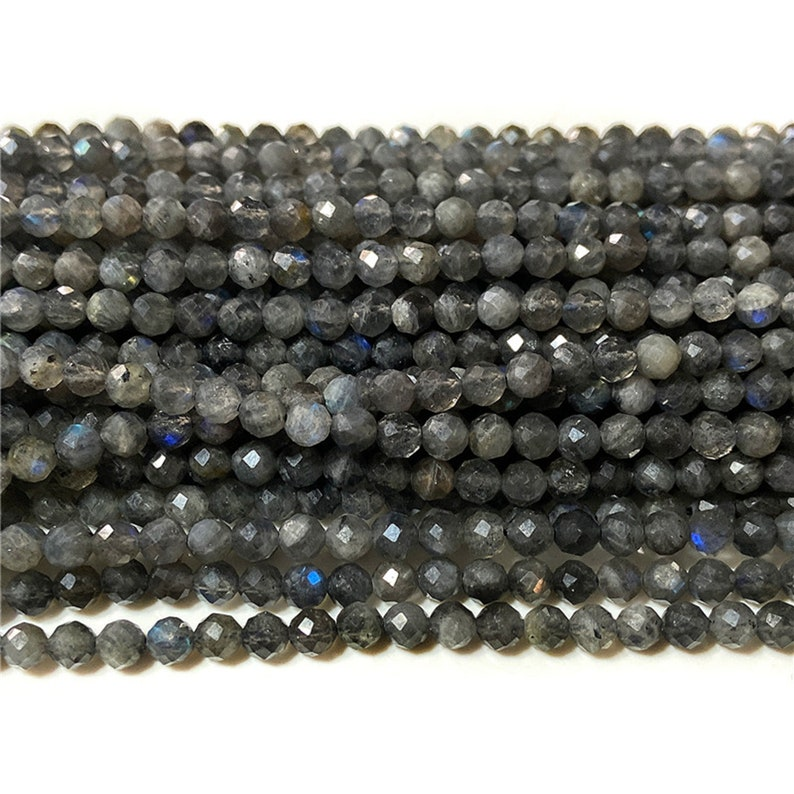 Natural Black Labradorite Beads Stone Beads Shiny Beads Faceted Beads Gemstone Beads 2 3 4mm Small Bead For Jewelry Making DIY 15.5/'/' Strand