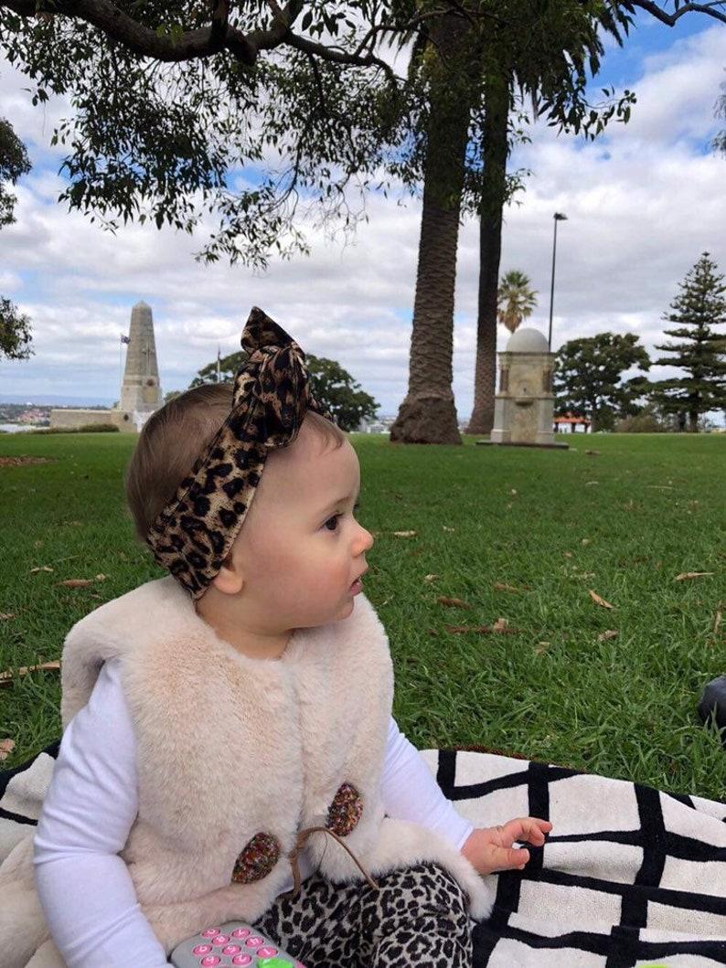 Baby bow Baby turban  Headband in leopard Topknot headband Baby headband