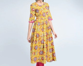 d1d623888f9 Summer Fashion Floral Print Flared Kurta Kurti Designer Ethnic Dress  Natural Cotton Bohemian Dress Fashion Wear Top Tunic Long Women Dress