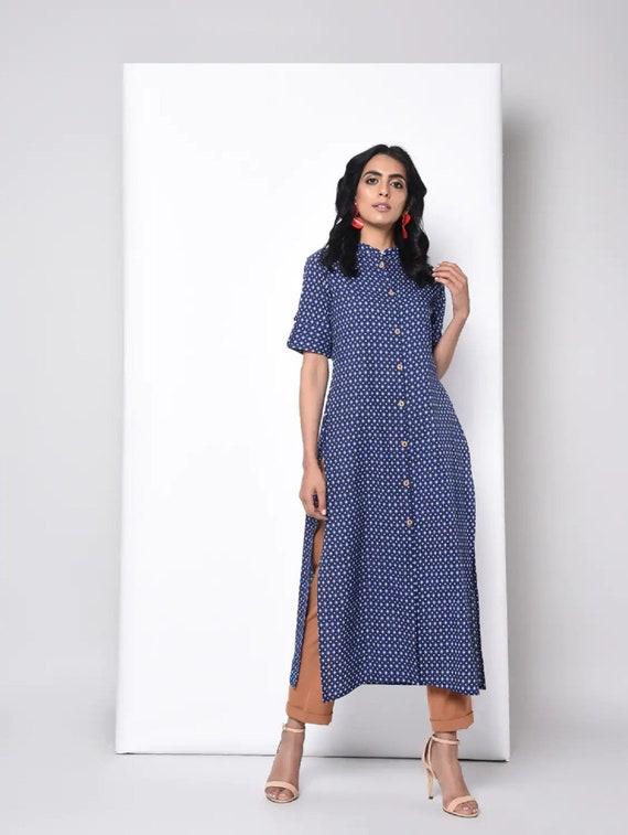 Women Indian Pakistani Printed Designer Party Wear Long Kurti Tunic Kurta Top 08